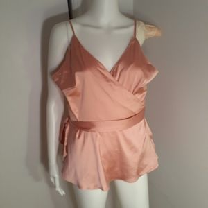 3 for $25 0x shein peach satin wrap top blouse xl